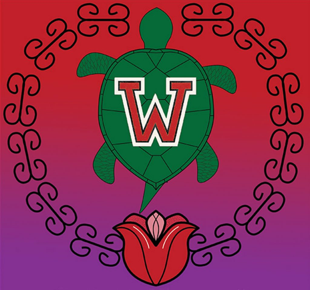 "Turtle with a red ""W"" on its back surrounded by a red flower and ornamental border over colorful gradient background"