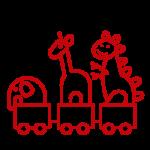 elephant, giraffe, and dinosaur toys sitting in toy train car