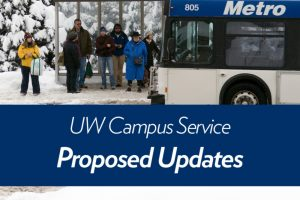"""UW Campus Service - Proposed Updates"" - overlaid on photo of Madison Metro Transit bus picking up people at a bus shelter on UW Madison campus"