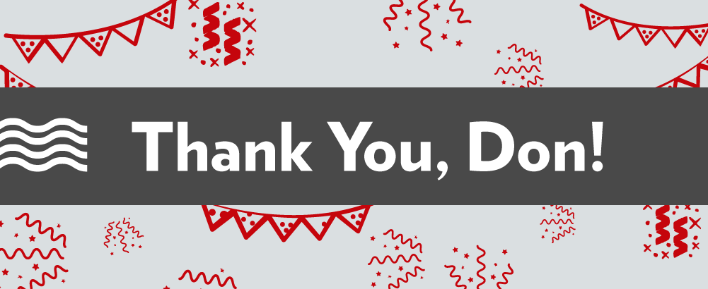 "Party streamers and confetti illustration - ""Thank You, Don!"""