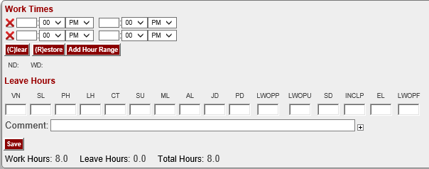 "Screen shot of TIme Tracking screen for University Staff. See the new ""LWOPF"" code at the far right, beneath ""Leave Hours"""