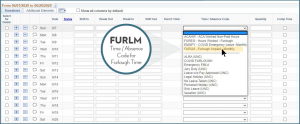 """FURLM"" ""Time / Absence Code for Furlough Time"""