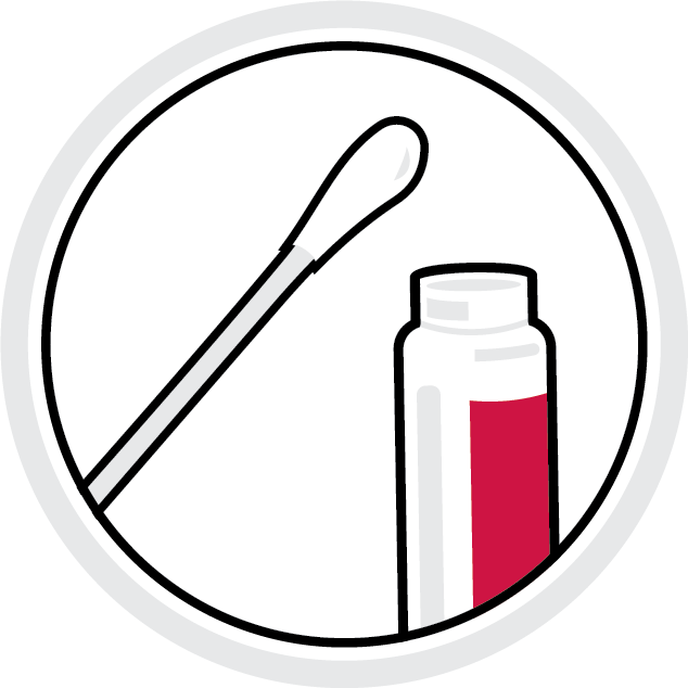 "illustration: cotton swab ""Q-tip"" and testing vial"