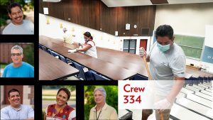 "Photo of custodial crew working. Five headshot photos of smiling crew members. ""Crew 344"" lettering"