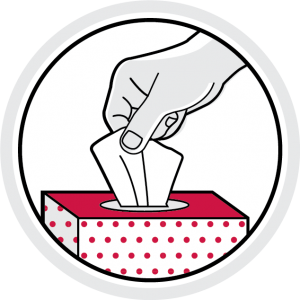 icon illustration: hand pulling out facial tissue from box