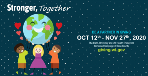 """Stronger Together"", with illustration of happy humans holding up the world with hearts around them. ""Be a Partner in Giving - OCT 12th - NOV 27, 2020"""