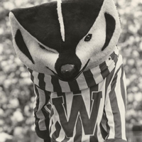 "vintage photo of Bucky Badger mascot with ""W"" shirt"