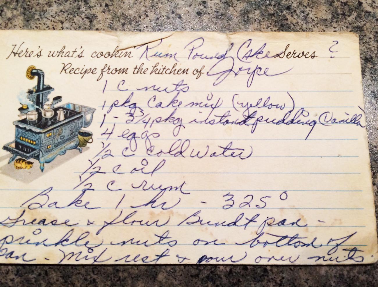 Rum Pound Cake Recipe