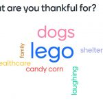 """word cloud graphic; a cluster of words: words such as """"dogs"""", """"shelter"""", """"family"""", """"coworkers"""""""