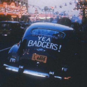 """photo: VW Beetle with """"yea badgers!"""" on rear window"""
