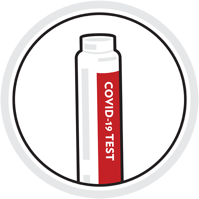 "Illustration: testing vial with printed lettering on label ""COVID-19 TEST"""