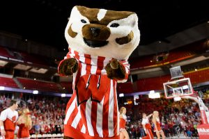 UW mascot Bucky Badger works a crowd of hundreds of UW fans before members of the men's Badgers basketball team enter the Kohl Center at the University of Wisconsin-Madison during a send-off event on April 1, 2015. (Photo by Bryce Richter / UW-Madison)