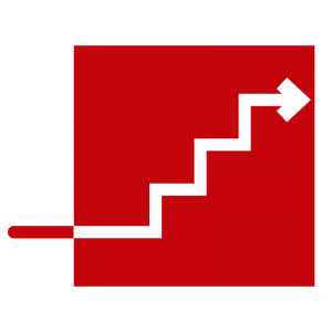 *illustration: Arrow that becomes stair steps inside red block