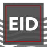 """Illustration: Words on stylized gray, white, and red background textures, """"EID"""" (Engagement Inclusion and Diversity)"""