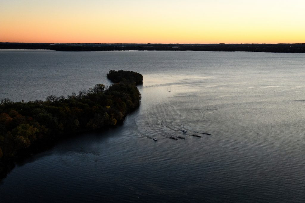 photo: Sunrise over Lake Mendota and Picnic Point viewed from overhead