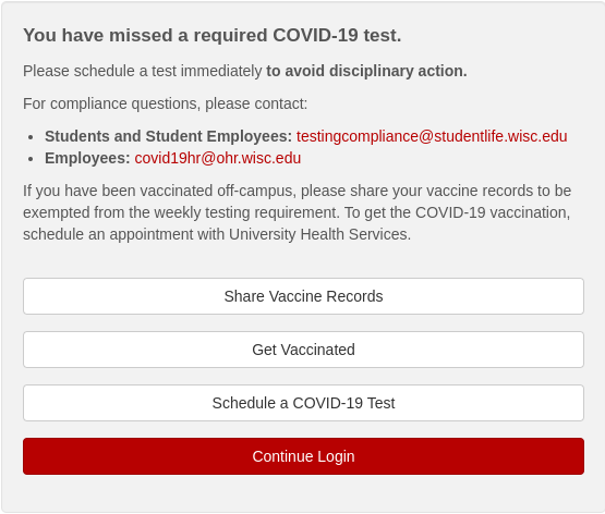 """Screen shot with text and buttons. Heading reads """"You have missed a required COVID-19 test."""""""